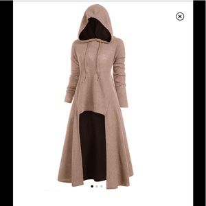 Hooded highlow drop shoulder longline tan sweater